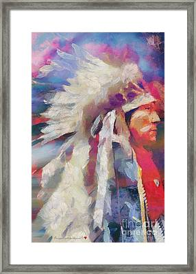 Finished Indian Feathers Painting Framed Print by Catherine Lott
