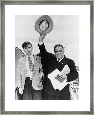 Fiorello Laguardia And His Son, Eric Framed Print by Everett