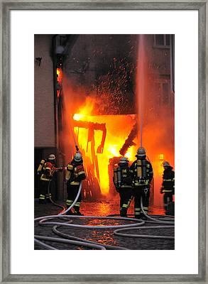 Fire - Burning House - Firefighters Framed Print by Matthias Hauser