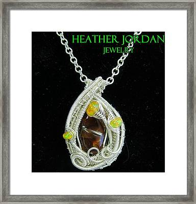 Fire Agate Pendant In Sterling Silver With Ethiopian Welo Opals Fragpss1 Framed Print by Heather Jordan