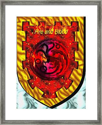 Fire And Blood Of The Targaryen Framed Print by Mario Carini