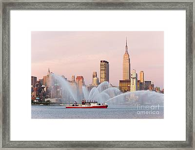 Fire Boat And Manhattan Skyline I Framed Print by Clarence Holmes