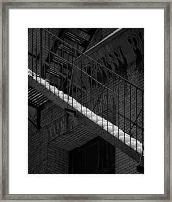 Fire Escape And Snow Framed Print by Robert Ullmann