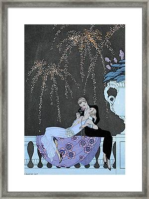 Fire Framed Print by Georges Barbier