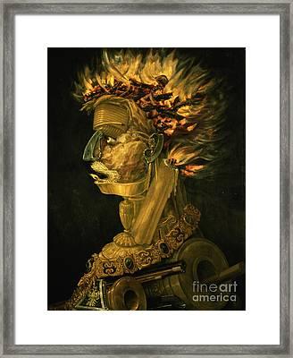 Fire Framed Print by Giuseppe Arcimboldo