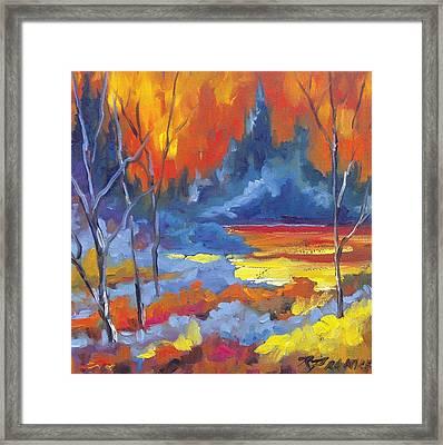 Fire Lake Framed Print by Richard T Pranke