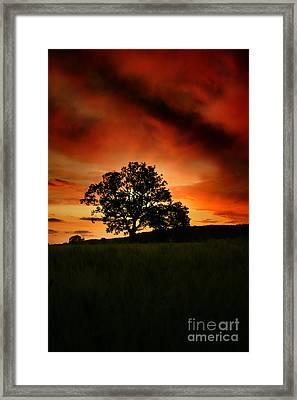 Fire On The Sky Framed Print by Angel  Tarantella