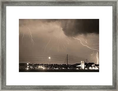 Fire Rescue Station 67  Lightning Thunderstorm Sepia Black And W Framed Print by James BO  Insogna