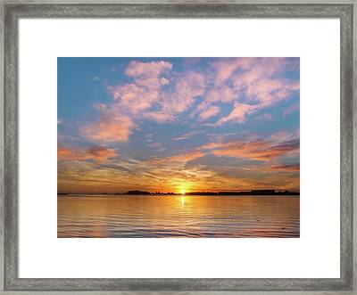 Fire Sunset On Humboldt Bay Framed Print by Greg Nyquist