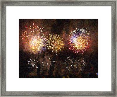 Fire Works Show Stippled Paint 3 France Framed Print by Dawn Hay