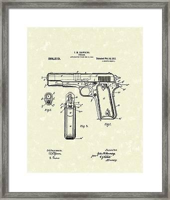 Firearm 1911 Patent Art Framed Print by Prior Art Design