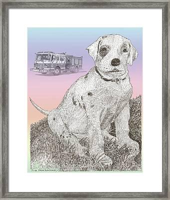 Firehouse Dalmatian Puppy Framed Print by Jack Pumphrey