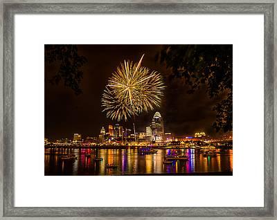 Firework On The River Framed Print by Nelson Charette
