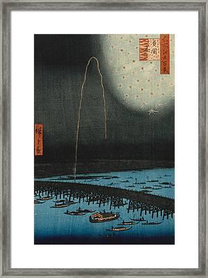 Fireworks At Ryogoku Framed Print by Hiroshige