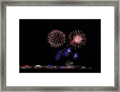 Fireworks Bursts Over Chicago Framed Print by Andrew Soundarajan