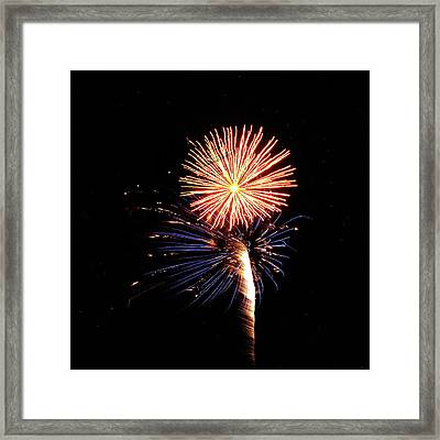Fireworks From A Boat - 25 Framed Print by Jeffrey Peterson