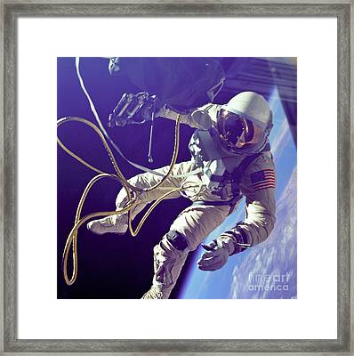 First American Walking In Space, Edward Framed Print by Nasa
