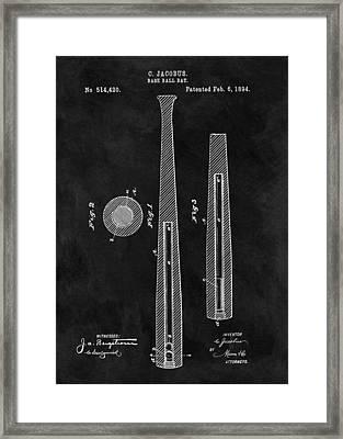 First Baseball Bat Patent Illustration Framed Print by Dan Sproul