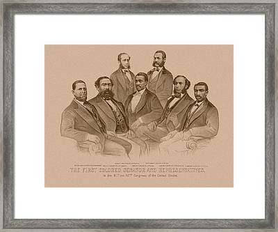 First Colored Senator And Representatives Framed Print by War Is Hell Store