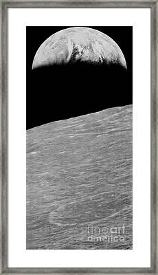 First Earthrise 1966 Framed Print by NASA LOIRP Science Source