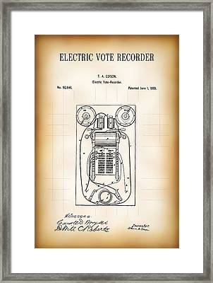 First Electric Voting Machine Patent 1869 Framed Print by Daniel Hagerman