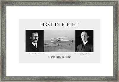 First In Flight - The Wright Brothers Framed Print by War Is Hell Store
