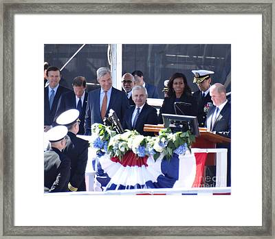 First Lady Michelle Obama At The Christening Of The Illinois Ssn 786 Framed Print by Gina Sullivan