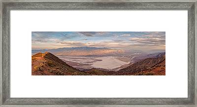 First Light On The Panamint Mountains From Dante's View - Death Valley National Park California Framed Print by Silvio Ligutti