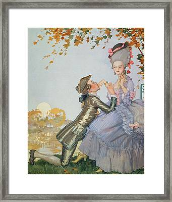 First Love Framed Print by Konstantin Andreevic Somov