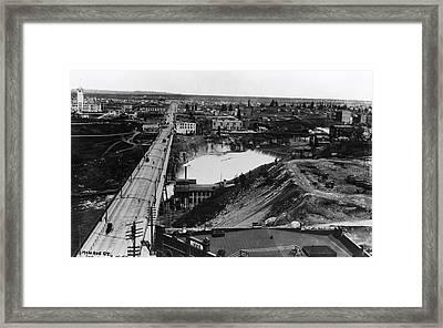 First Monroe Street Bridge - Spokane Falls 1895 Framed Print by Daniel Hagerman