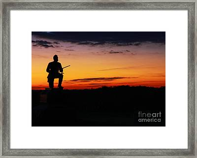First Pennsylvania Cavalry Sunrise Gettysburg Framed Print by Randy Steele