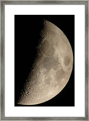 First Quarter Moon Framed Print by George Leask