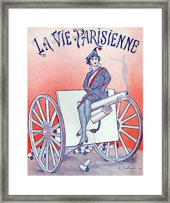 First World War Propaganda   Cover Of La Vie Parisienne Framed Print by French School