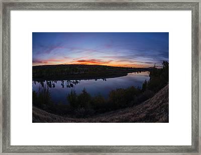 Fish Eye View Of Boise River Sunset In Boise Idaho Framed Print by Vishwanath Bhat