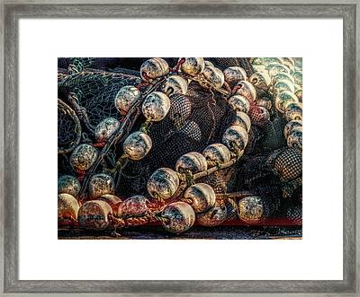 Fish Net And Buoys Framed Print by Bob Orsillo