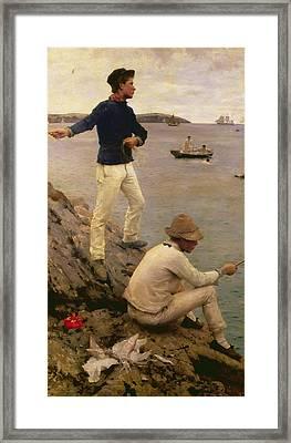 Fisher Boys Falmouth Framed Print by Henry Scott Tuke