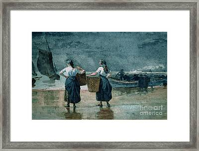Fisher Girls By The Sea Framed Print by Winslow Homer