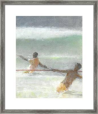 Fishermen Hauling Nets Framed Print by Lincoln Seligman