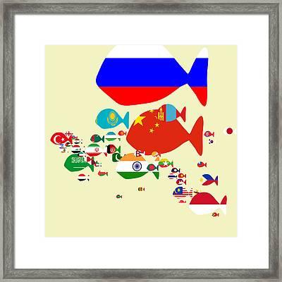 Fishes Map Of Asia Framed Print by Keshava Shukla