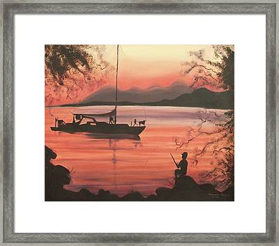 Fishing At Sunset Framed Print by Suzanne  Marie Leclair