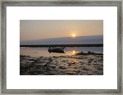 Fishing Boat At Sunrise Framed Print by Bill Cannon