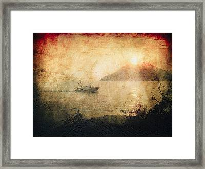 Fishing Boat At Sunset Framed Print by Loriental Photography