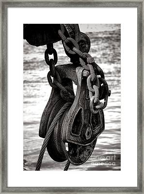 Fishing Boat Pulley Framed Print by Olivier Le Queinec