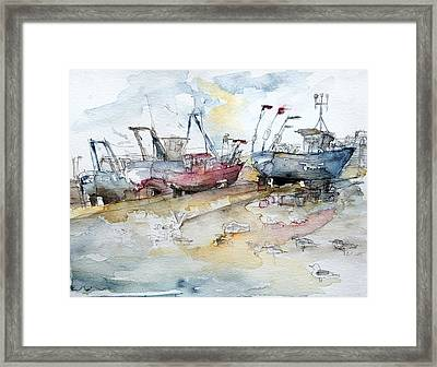 Fishing Boats At Hastings' Beach Framed Print by Barbara Pommerenke
