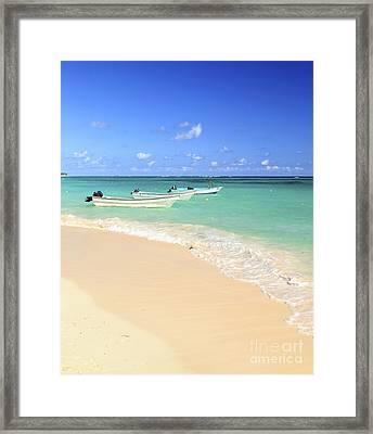 Fishing Boats In Caribbean Sea Framed Print by Elena Elisseeva