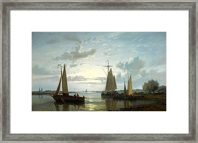 Fishing Boats On The Scheldt Framed Print by Abraham Hulk