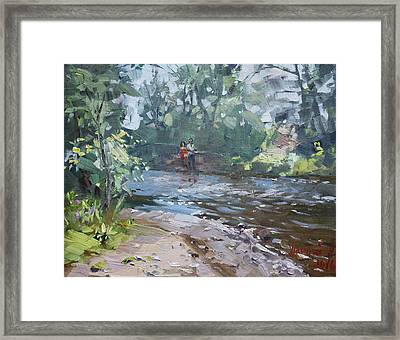 Fishing Day With Viola Framed Print by Ylli Haruni