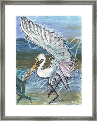 Fishing Egret Framed Print by Stu Hanson