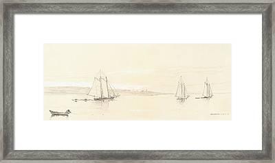 Fishing Fleet At Gloucester Framed Print by Winslow Homer