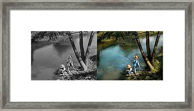 Fishing - Gone Fishin' - 1940 - Side By Side Framed Print by Mike Savad